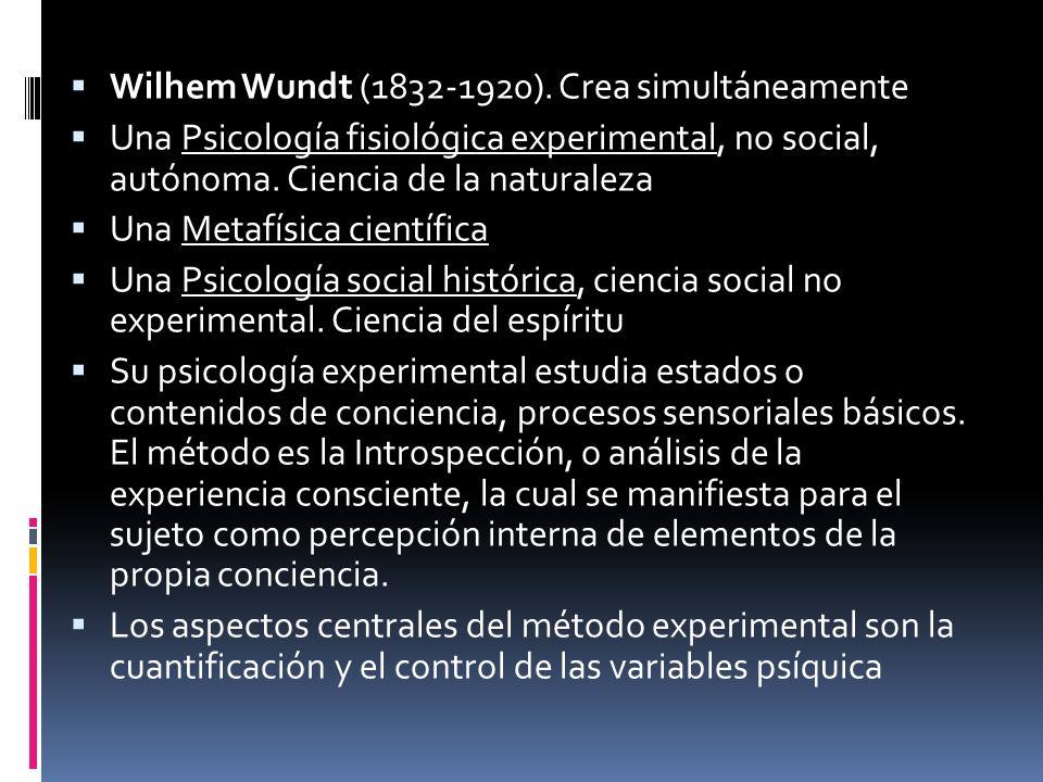 Wilhem Wundt (1832-1920). Crea simultáneamente Una Psicología fisiológica experimental, no social, autónoma. Ciencia de la naturaleza Una Metafísica c