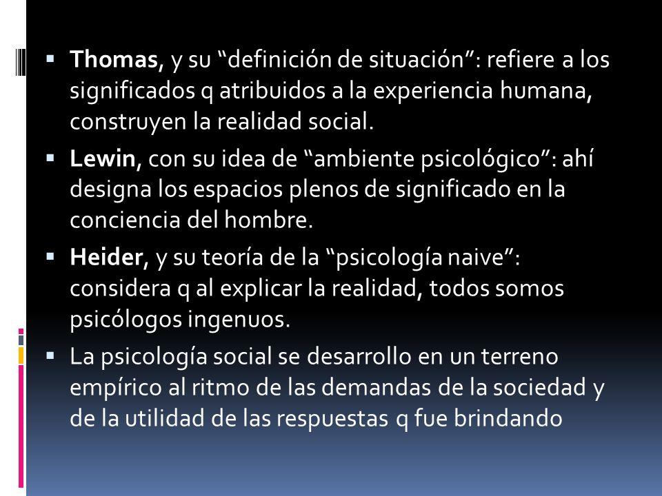Thomas, y su definición de situación: refiere a los significados q atribuidos a la experiencia humana, construyen la realidad social. Lewin, con su id