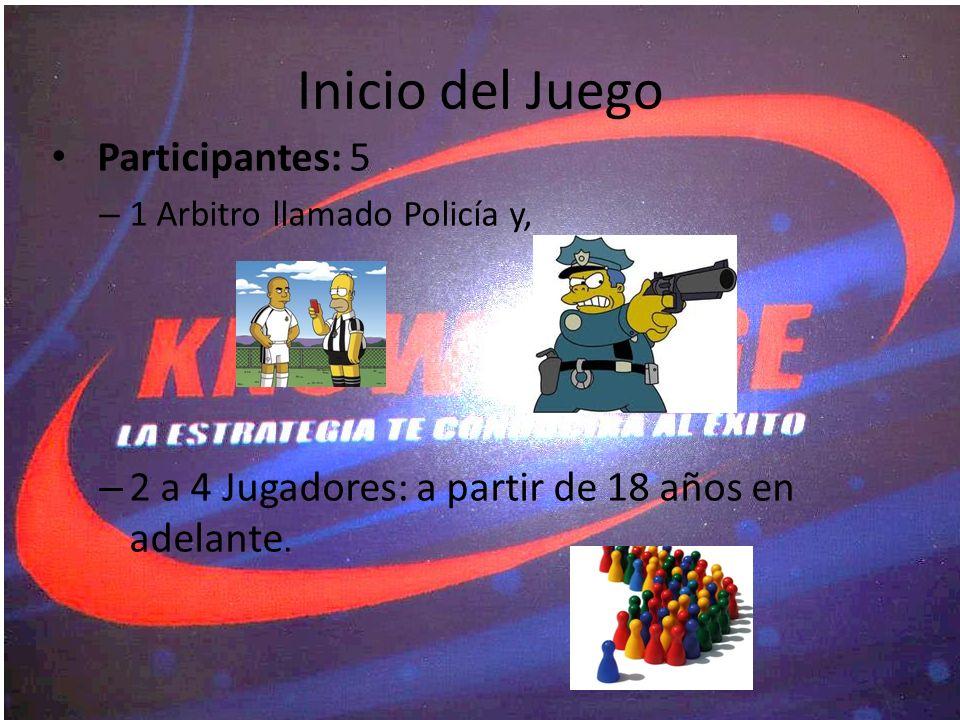Participantes: 5 – 1 Arbitro llamado Policía y, – 2 a 4 Jugadores: a partir de 18 años en adelante. Inicio del Juego