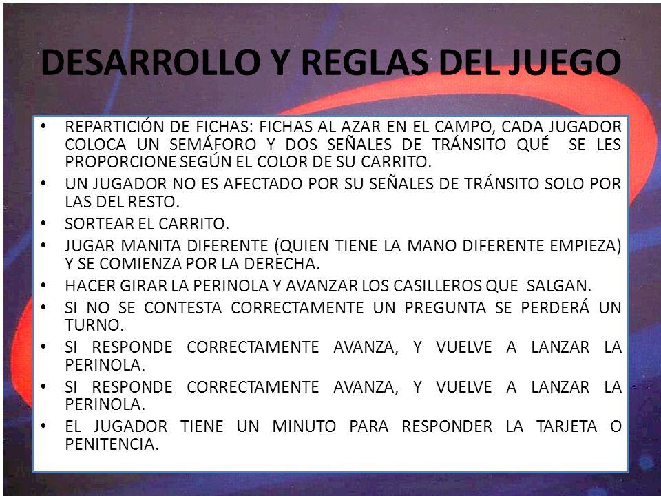 DESARROLLO Y REGLAS DEL JUEGO REPARTICIÓN DE FICHAS: FICHAS AL AZAR EN EL CAMPO, CADA JUGADOR COLOCA UN SEMÁFORO Y DOS SEÑALES DE TRÁNSITO QUÉ SE LES