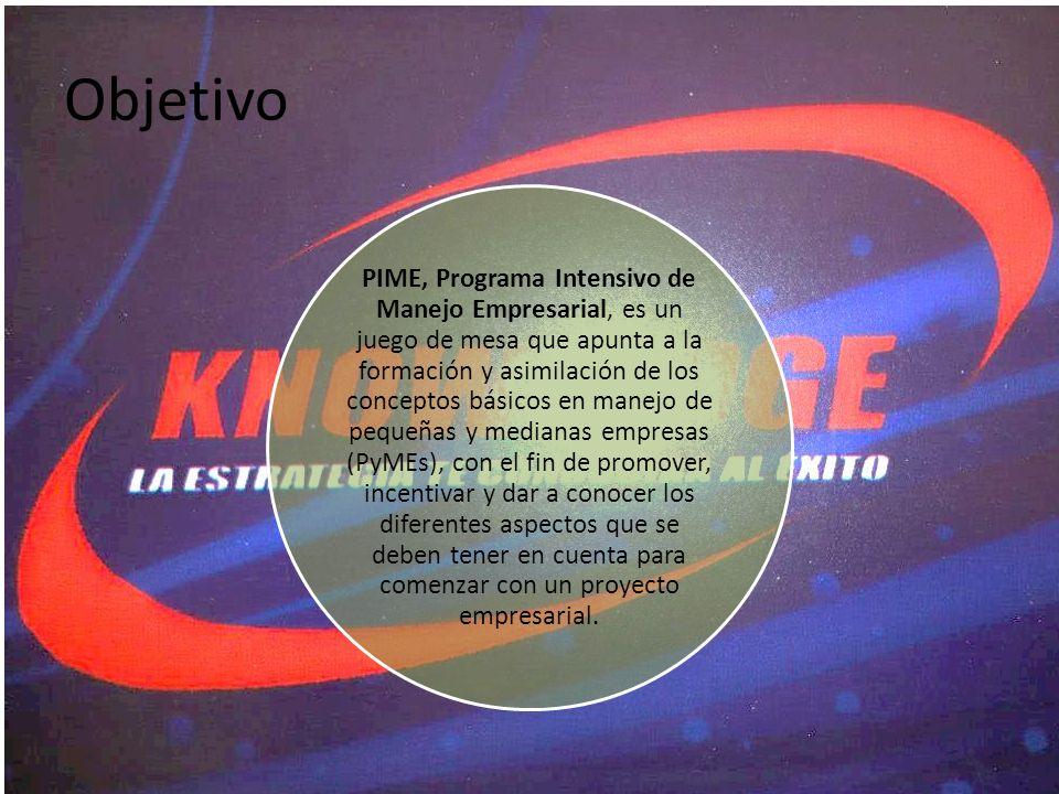 Objetivo PIME, Programa Intensivo de Manejo Empresarial, es un juego de mesa que apunta a la formación y asimilación de los conceptos básicos en manej