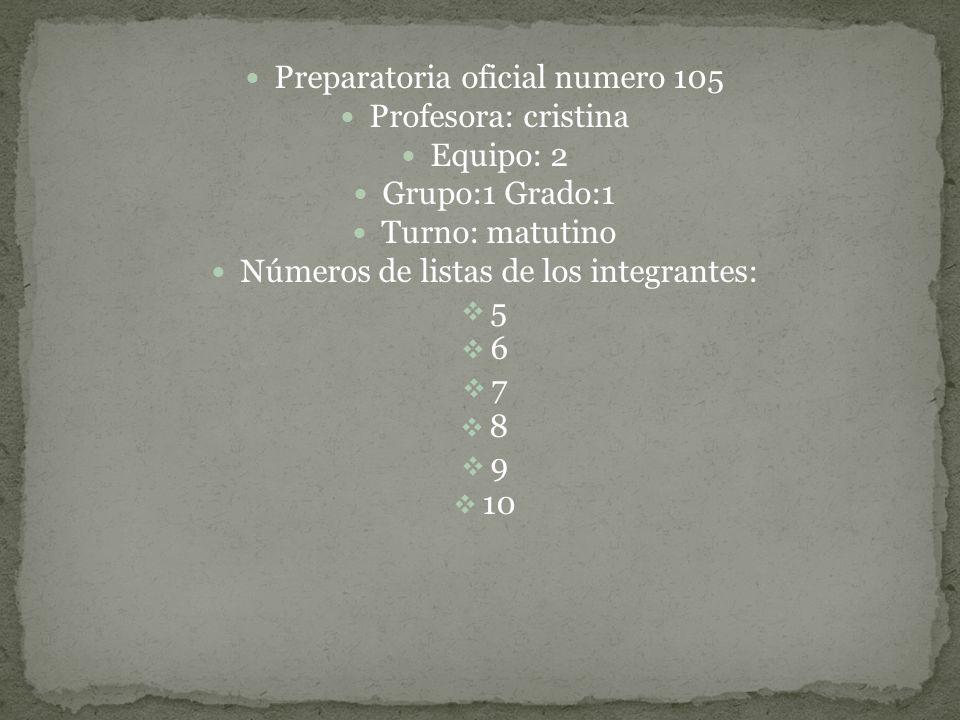 Preparatoria oficial numero 105 Profesora: cristina Equipo: 2 Grupo:1 Grado:1 Turno: matutino Números de listas de los integrantes: 5 6 7 8 9 10