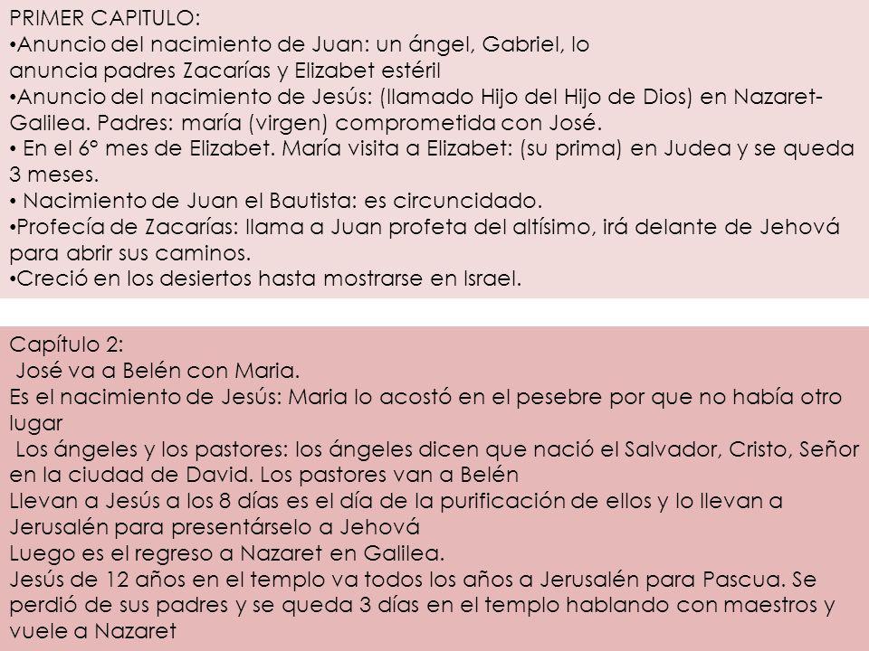 PRIMER CAPITULO: Anuncio del nacimiento de Juan: un ángel, Gabriel, lo anuncia padres Zacarías y Elizabet estéril Anuncio del nacimiento de Jesús: (ll