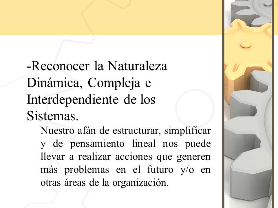 -Reconocer la Naturaleza Dinámica, Compleja e Interdependiente de los Sistemas.