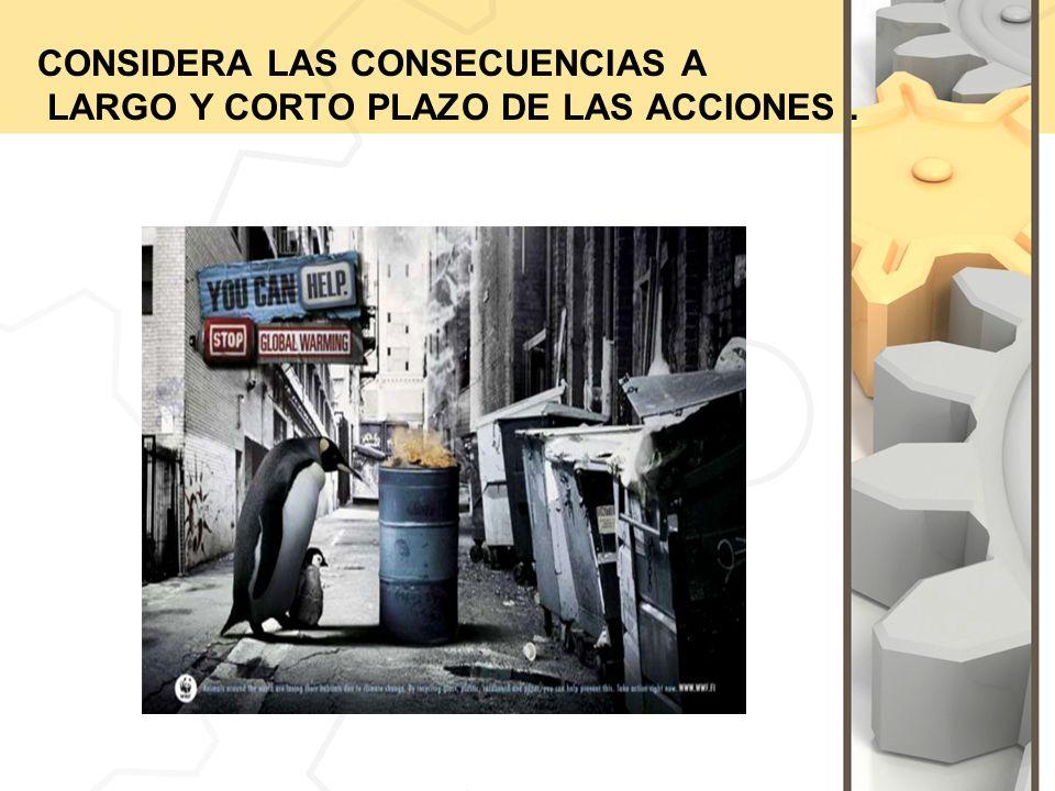 CONSIDERA LAS CONSECUENCIAS A LARGO Y CORTO PLAZO DE LAS ACCIONES.