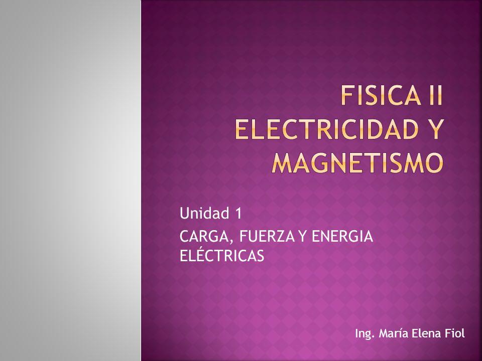 Unidad 1 CARGA, FUERZA Y ENERGIA ELÉCTRICAS Ing. María Elena Fiol