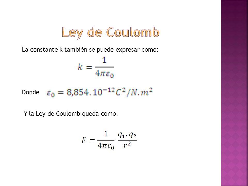 La constante k también se puede expresar como: Donde Y la Ley de Coulomb queda como:
