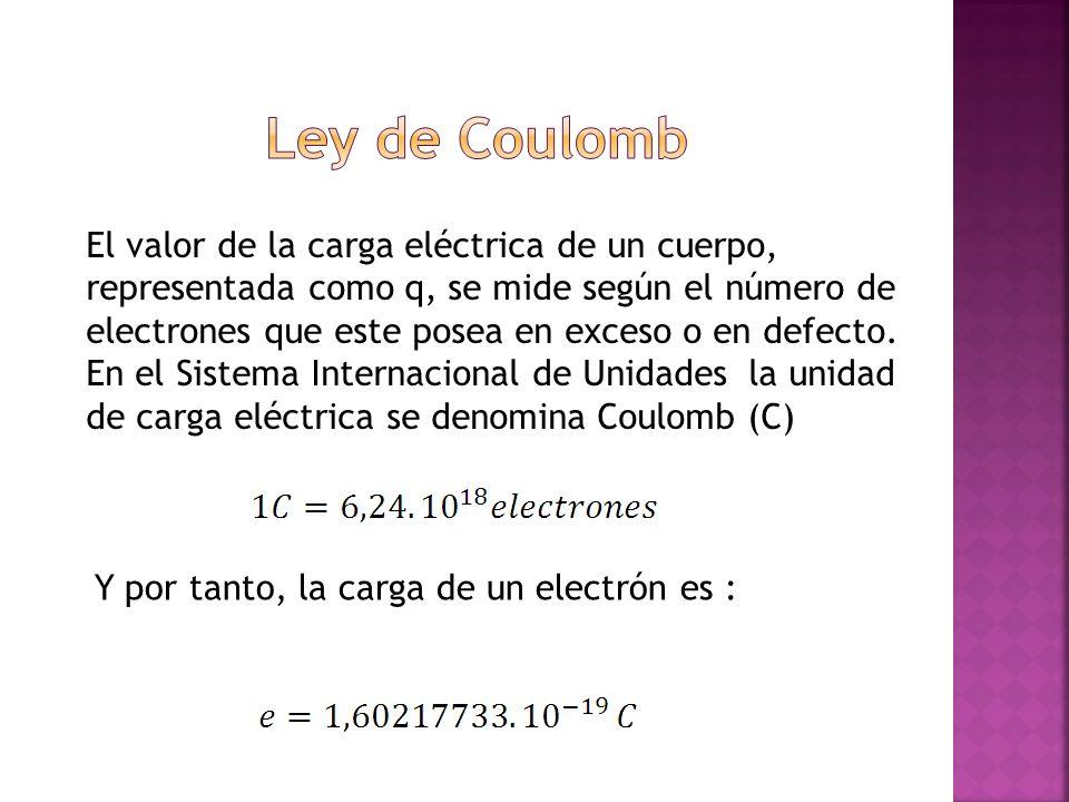 El valor de la carga eléctrica de un cuerpo, representada como q, se mide según el número de electrones que este posea en exceso o en defecto. En el S