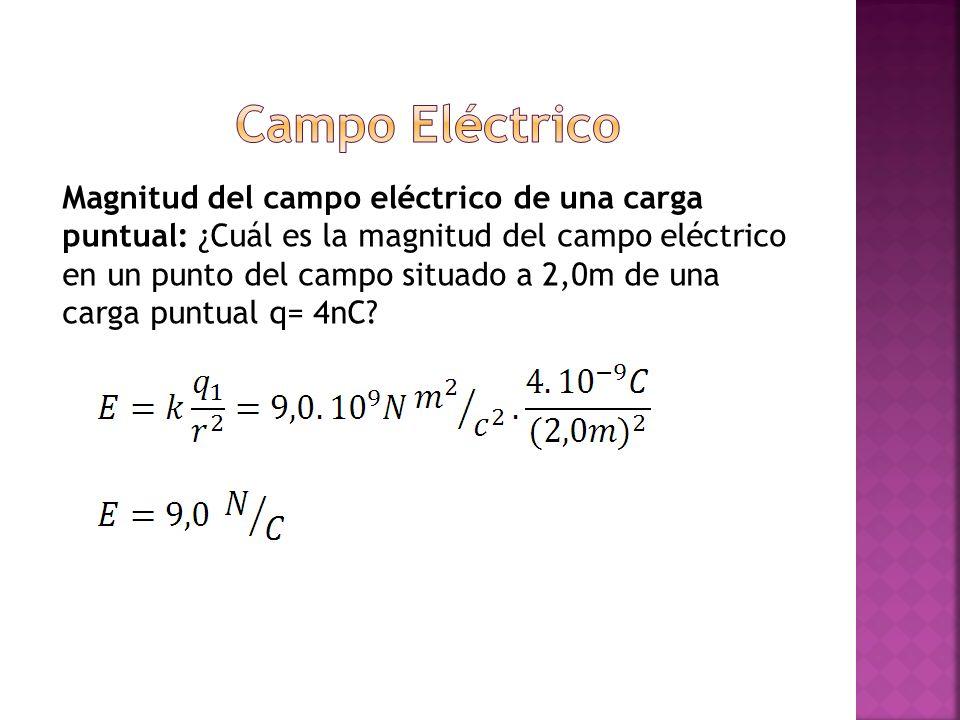 Magnitud del campo eléctrico de una carga puntual: ¿Cuál es la magnitud del campo eléctrico en un punto del campo situado a 2,0m de una carga puntual