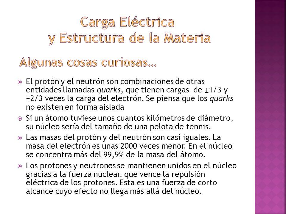 El protón y el neutrón son combinaciones de otras entidades llamadas quarks, que tienen cargas de ±1/3 y ±2/3 veces la carga del electrón. Se piensa q