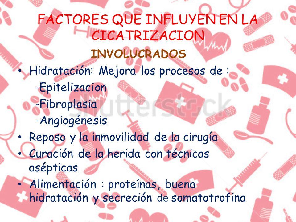 FACTORES QUE INFLUYEN EN LA CICATRIZACION INVOLUCRADOS Hidratación: Mejora los procesos de : -Epitelizacion -Fibroplasia -Angiogénesis Reposo y la inm