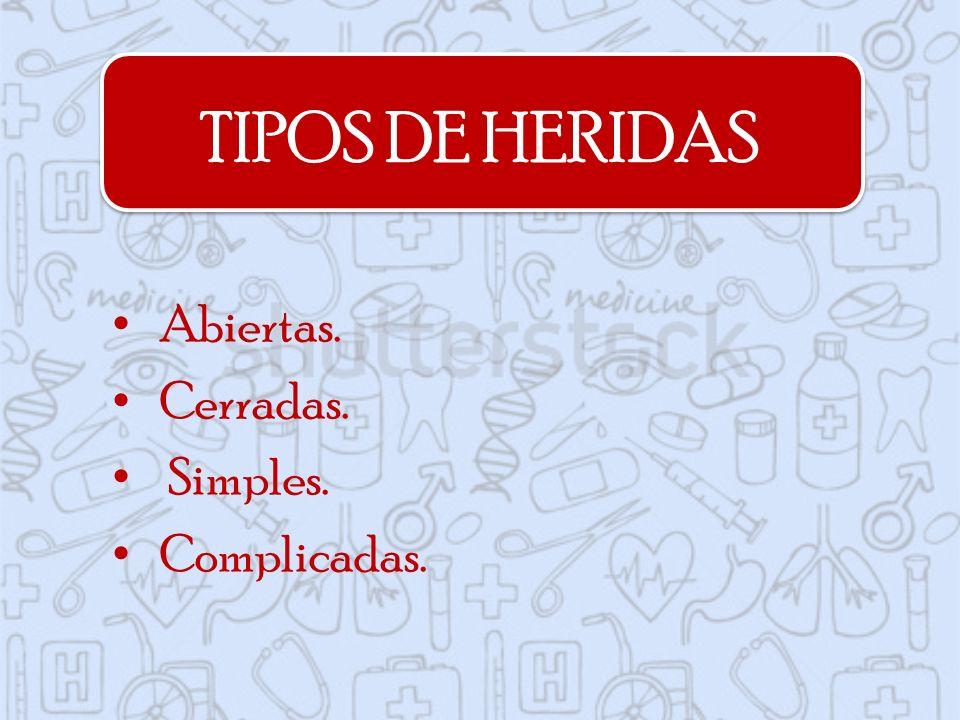 TIPOS DE HERIDAS Abiertas. Cerradas. Simples. Complicadas.