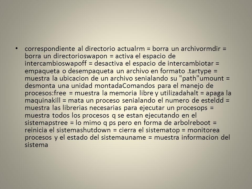 correspondiente al directorio actualrm = borra un archivormdir = borra un directorioswapon = activa el espacio de intercambioswapoff = desactiva el es