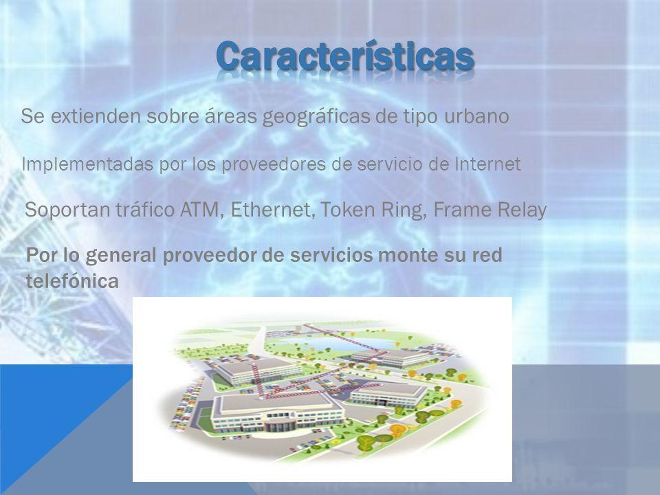 Se extienden sobre áreas geográficas de tipo urbano Implementadas por los proveedores de servicio de Internet Soportan tráfico ATM, Ethernet, Token Ri