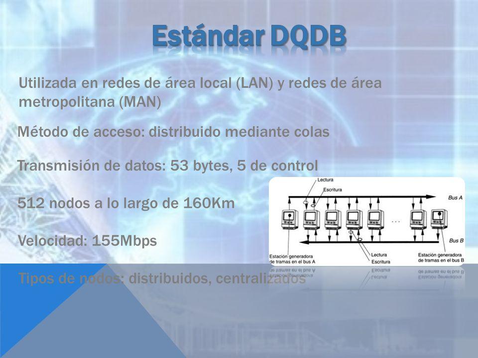 Utilizada en redes de área local (LAN) y redes de área metropolitana (MAN) Método de acceso: distribuido mediante colas Transmisión de datos: 53 bytes