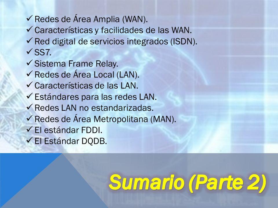 Redes de Área Amplia (WAN). Características y facilidades de las WAN. Red digital de servicios integrados (ISDN). SS7. Sistema Frame Relay. Redes de Á
