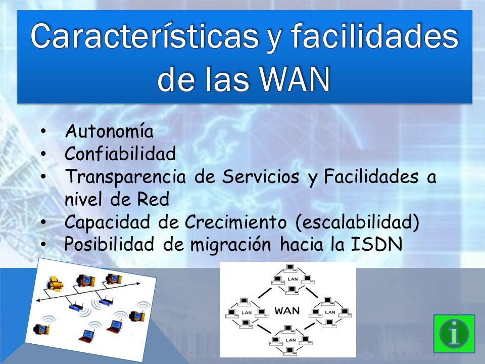Autonomía Confiabilidad Transparencia de Servicios y Facilidades a nivel de Red Capacidad de Crecimiento (escalabilidad) Posibilidad de migración haci