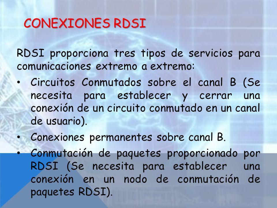 RDSI proporciona tres tipos de servicios para comunicaciones extremo a extremo: Circuitos Conmutados sobre el canal B (Se necesita para establecer y c