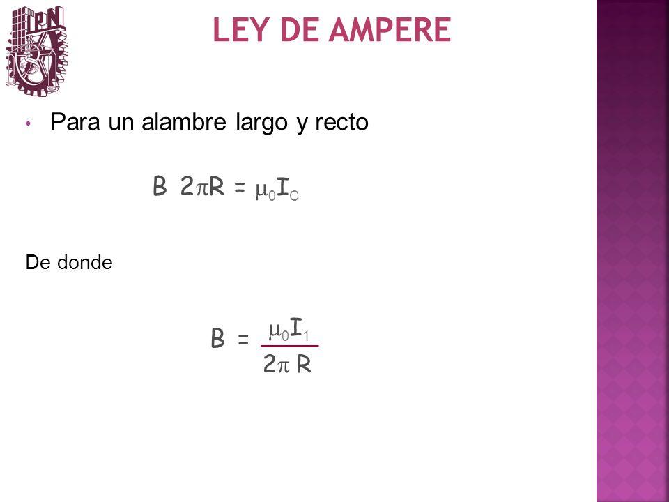 LEY DE AMPERE Para un alambre largo y recto B 2 R = 0 I C De donde B = 0 I 1 2 R