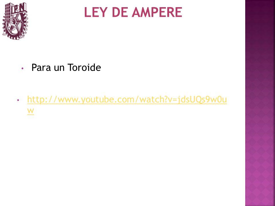 LEY DE AMPERE http://www.youtube.com/watch?v=jdsUQs9w0u w http://www.youtube.com/watch?v=jdsUQs9w0u w Para un Toroide