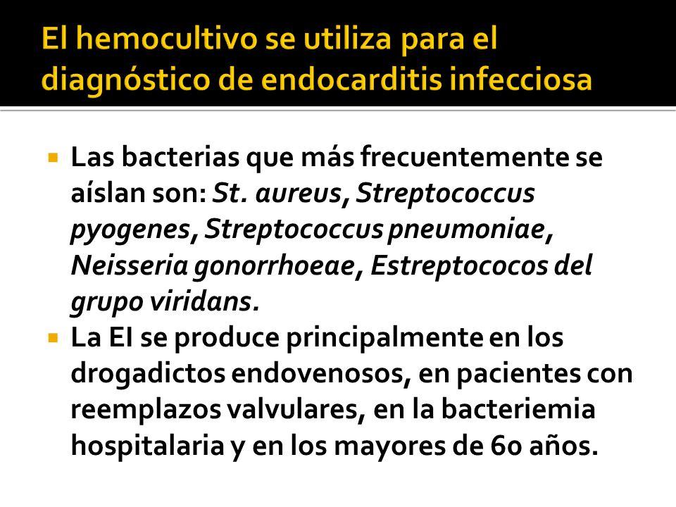 Las bacterias que más frecuentemente se aíslan son: St. aureus, Streptococcus pyogenes, Streptococcus pneumoniae, Neisseria gonorrhoeae, Estreptococos