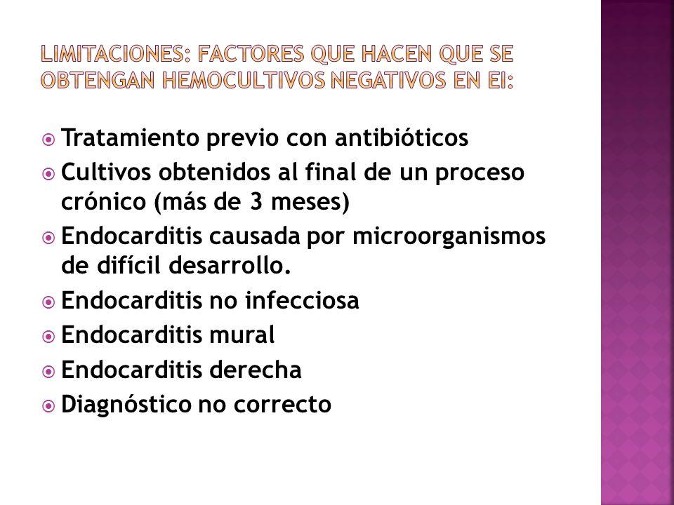 Tratamiento previo con antibióticos Cultivos obtenidos al final de un proceso crónico (más de 3 meses) Endocarditis causada por microorganismos de dif
