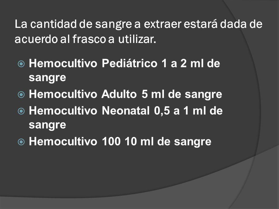 La cantidad de sangre a extraer estará dada de acuerdo al frasco a utilizar. Hemocultivo Pediátrico 1 a 2 ml de sangre Hemocultivo Adulto 5 ml de sang