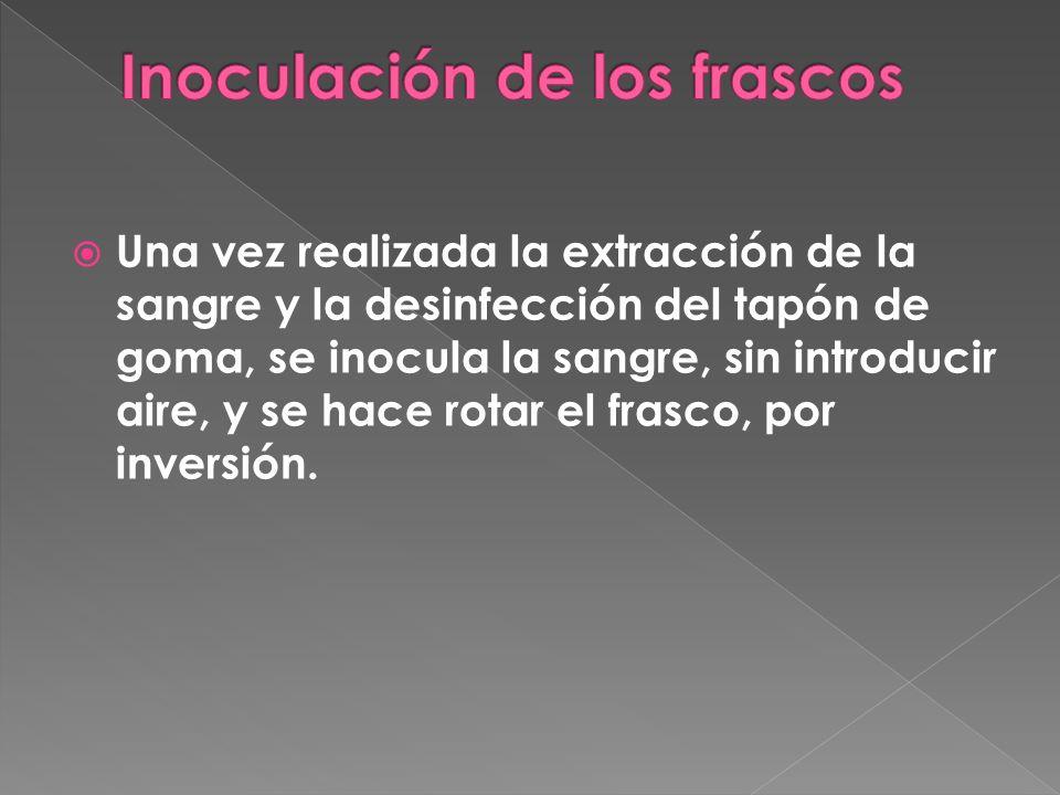 Una vez realizada la extracción de la sangre y la desinfección del tapón de goma, se inocula la sangre, sin introducir aire, y se hace rotar el frasco