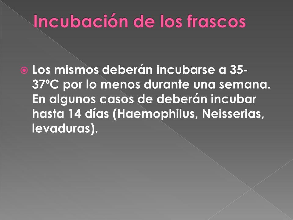 Los frascos se deberán observar cada 24 a 48 hs.Durante el tiempo que dure la incubación.