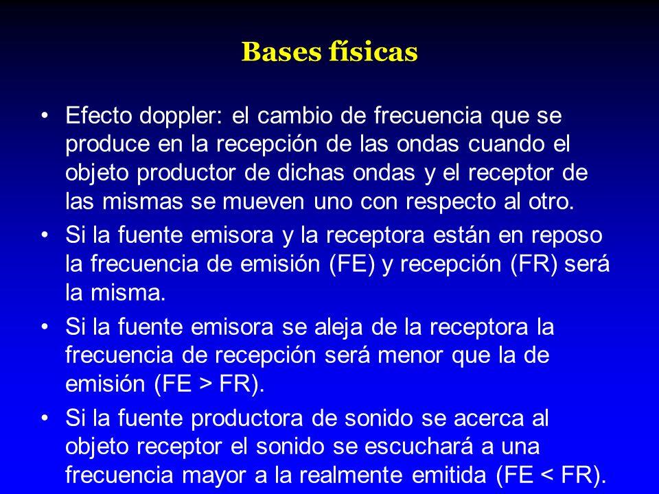 Bases físicas Efecto doppler: el cambio de frecuencia que se produce en la recepción de las ondas cuando el objeto productor de dichas ondas y el rece
