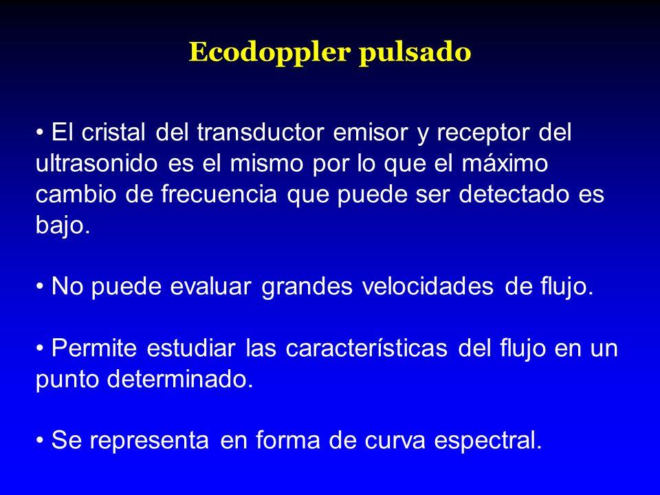 Ecodoppler pulsado El cristal del transductor emisor y receptor del ultrasonido es el mismo por lo que el máximo cambio de frecuencia que puede ser de