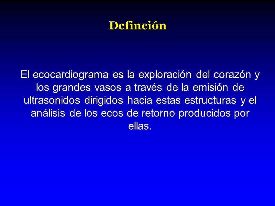 Definción El ecocardiograma es la exploración del corazón y los grandes vasos a través de la emisión de ultrasonidos dirigidos hacia estas estructuras