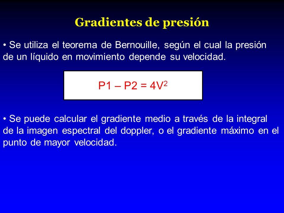 Gradientes de presión Se utiliza el teorema de Bernouille, según el cual la presión de un líquido en movimiento depende su velocidad. P1 – P2 = 4V 2 S