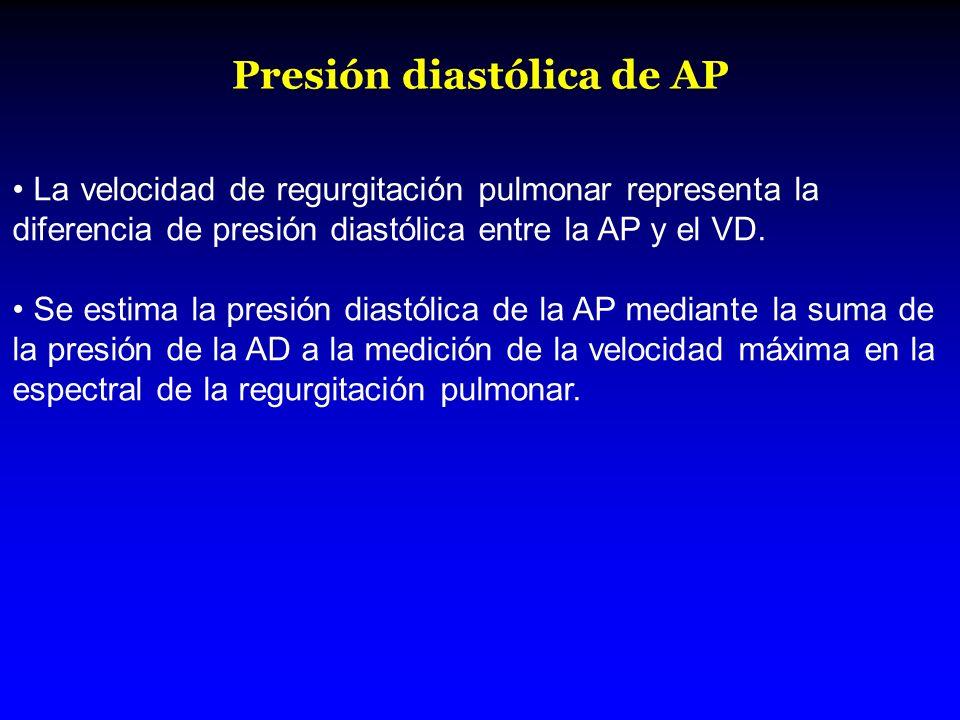 Presión diastólica de AP La velocidad de regurgitación pulmonar representa la diferencia de presión diastólica entre la AP y el VD. Se estima la presi