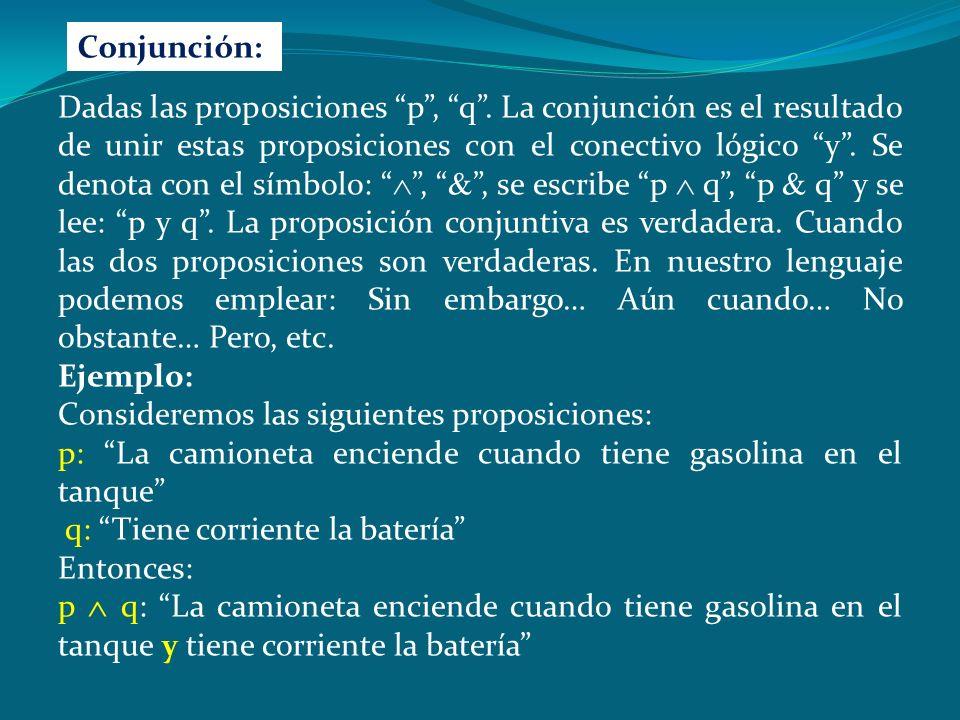 La tabla de verdad para el esquema molecular, esta dado por: pq (p q) p VV V F F VF F F F FV F F V FF Contradicción: La expresión resulta ser una contradicción, cuando los valores de su conectivo principal resultan ser falsos, para todas las asignaciones posibles de la tabla de verdad.