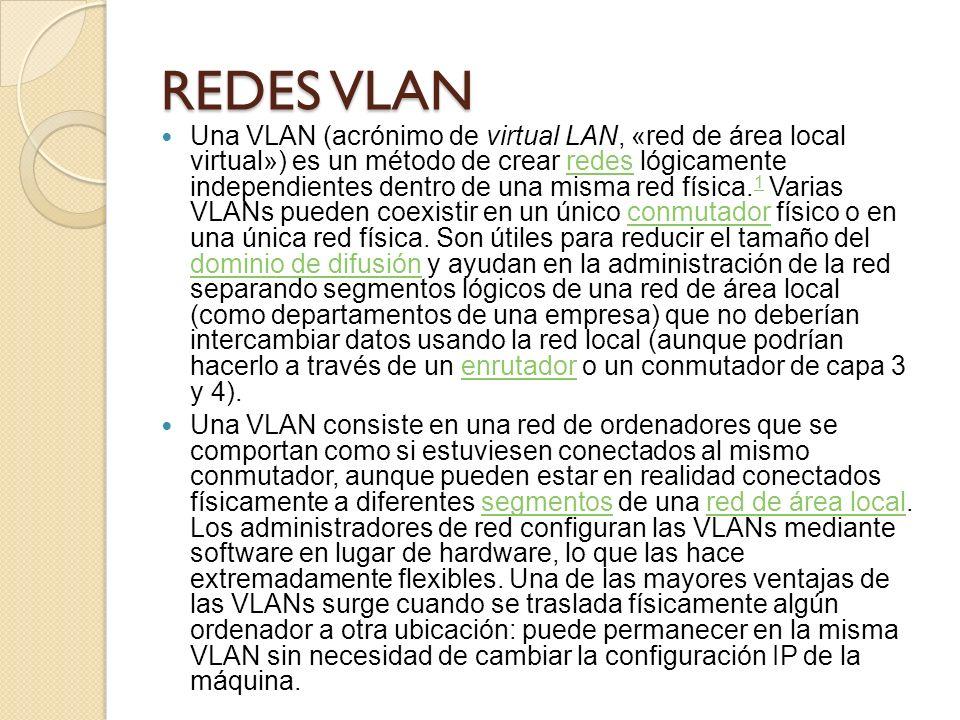 REDES VLAN Una VLAN (acrónimo de virtual LAN, «red de área local virtual») es un método de crear redes lógicamente independientes dentro de una misma red física.