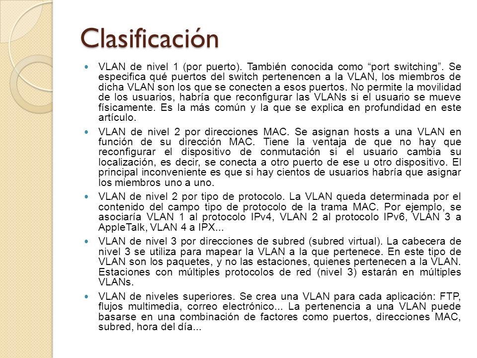 Clasificación VLAN de nivel 1 (por puerto). También conocida como port switching. Se especifica qué puertos del switch pertenencen a la VLAN, los miem