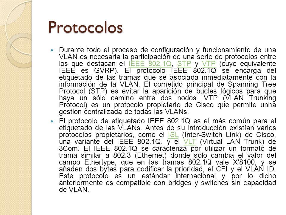 Protocolos Durante todo el proceso de configuración y funcionamiento de una VLAN es necesaria la participación de una serie de protocolos entre los que destacan el IEEE 802.1Q, STP y VTP (cuyo equivalente IEEE es GVRP).