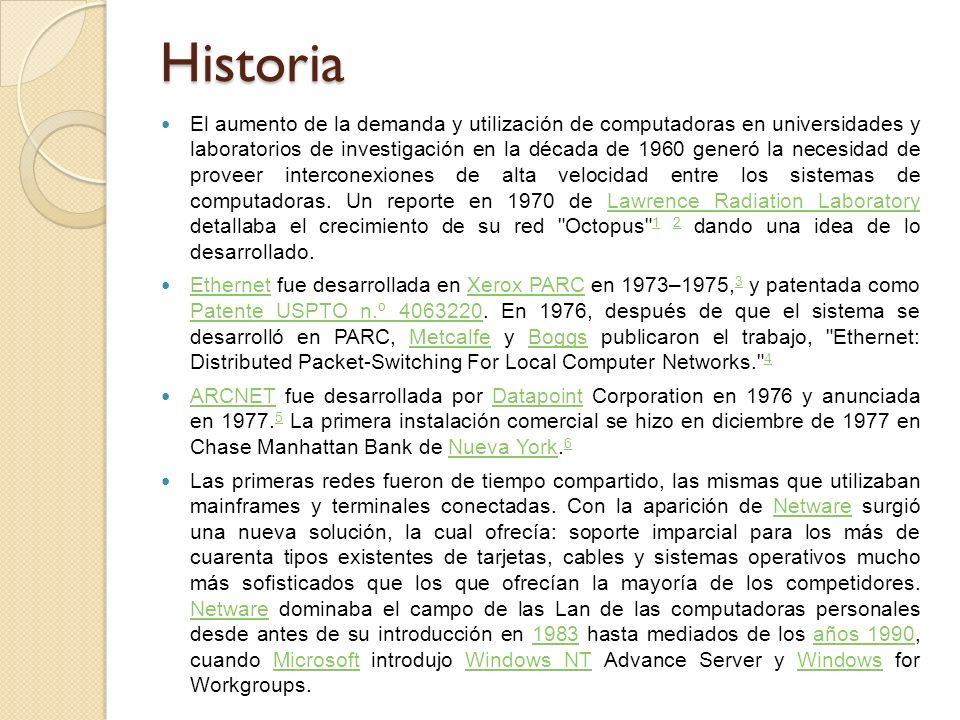 Historia El aumento de la demanda y utilización de computadoras en universidades y laboratorios de investigación en la década de 1960 generó la necesidad de proveer interconexiones de alta velocidad entre los sistemas de computadoras.