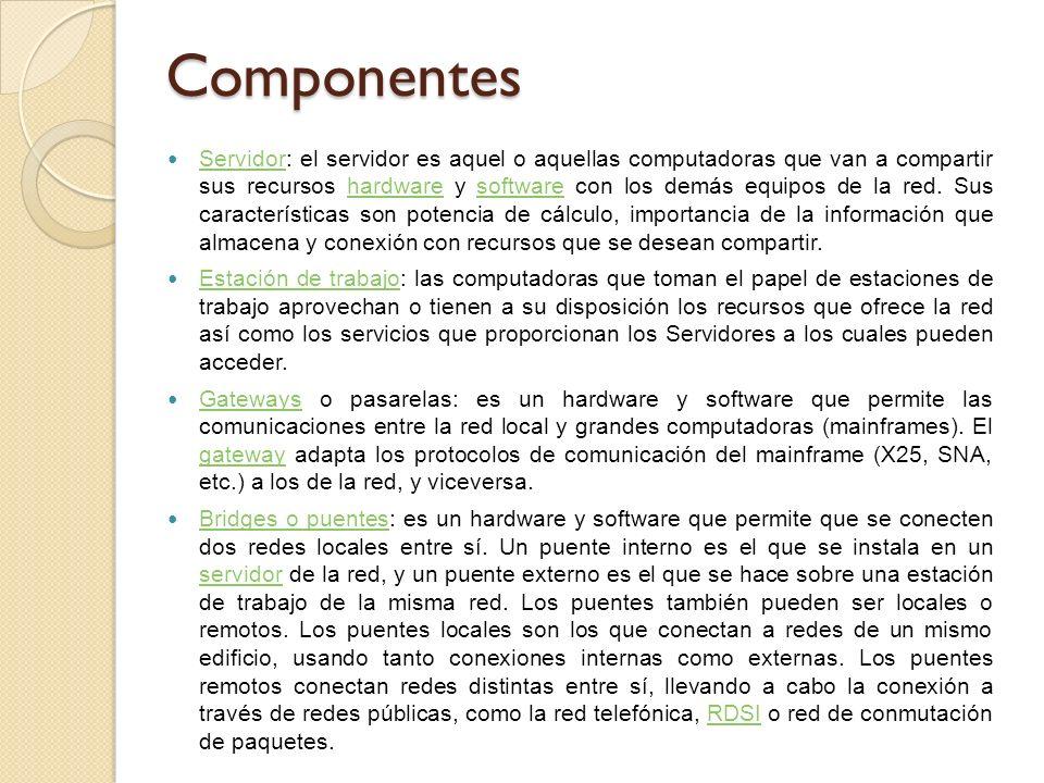 Componentes Servidor: el servidor es aquel o aquellas computadoras que van a compartir sus recursos hardware y software con los demás equipos de la red.