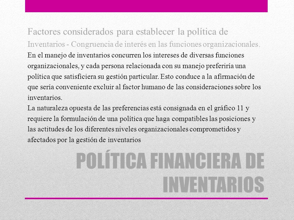 POLÍTICA FINANCIERA DE INVENTARIOS Factores considerados para establecer la política de Inventarios - Congruencia de interés en las funciones organiza