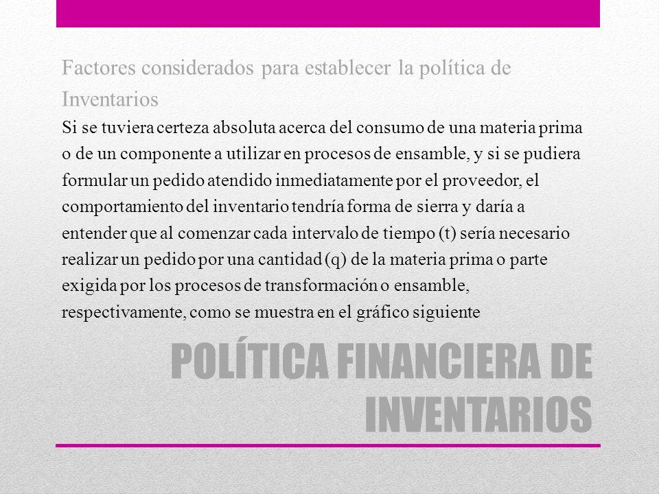 POLÍTICA FINANCIERA DE INVENTARIOS Factores considerados para establecer la política de Inventarios Si se tuviera certeza absoluta acerca del consumo
