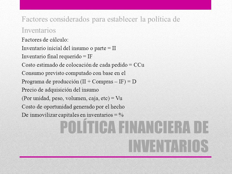 POLÍTICA FINANCIERA DE INVENTARIOS Factores considerados para establecer la política de Inventarios Factores de cálculo: Inventario inicial del insumo