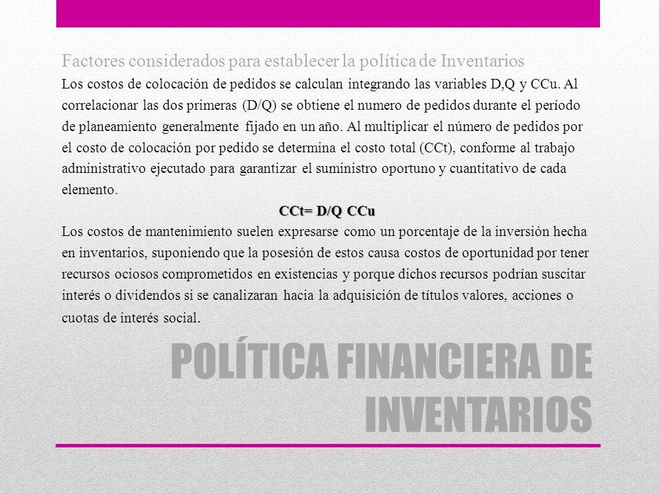 POLÍTICA FINANCIERA DE INVENTARIOS Factores considerados para establecer la política de Inventarios Los costos de colocación de pedidos se calculan in