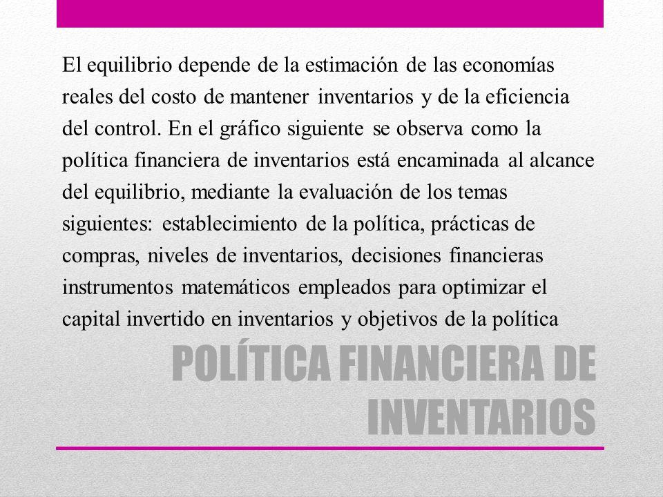 POLÍTICA FINANCIERA DE INVENTARIOS El equilibrio depende de la estimación de las economías reales del costo de mantener inventarios y de la eficiencia