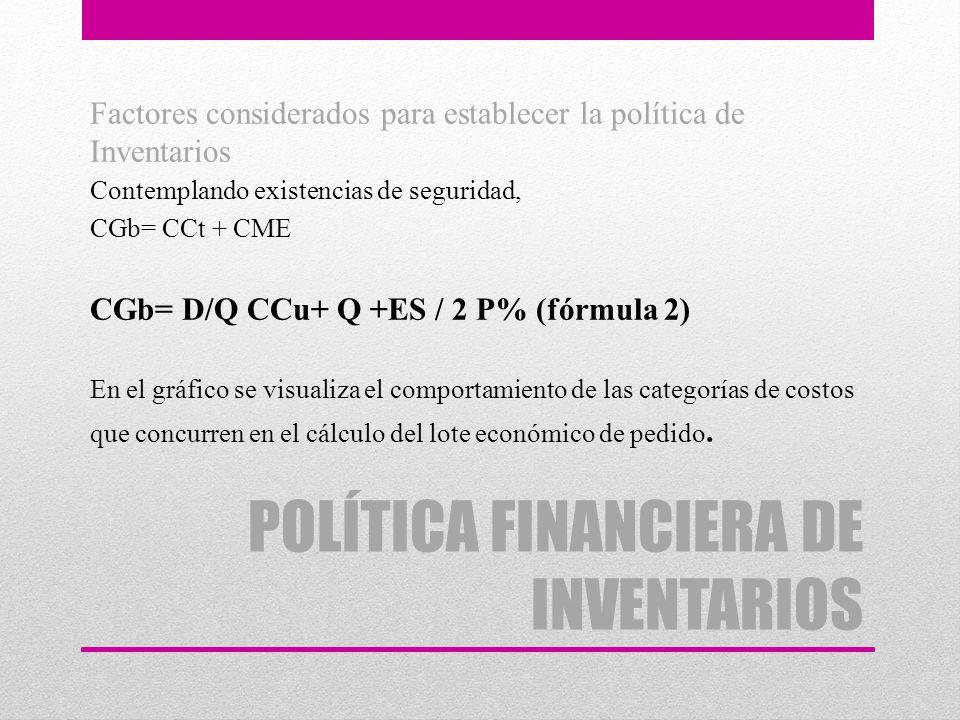 POLÍTICA FINANCIERA DE INVENTARIOS Factores considerados para establecer la política de Inventarios Contemplando existencias de seguridad, CGb= CCt +