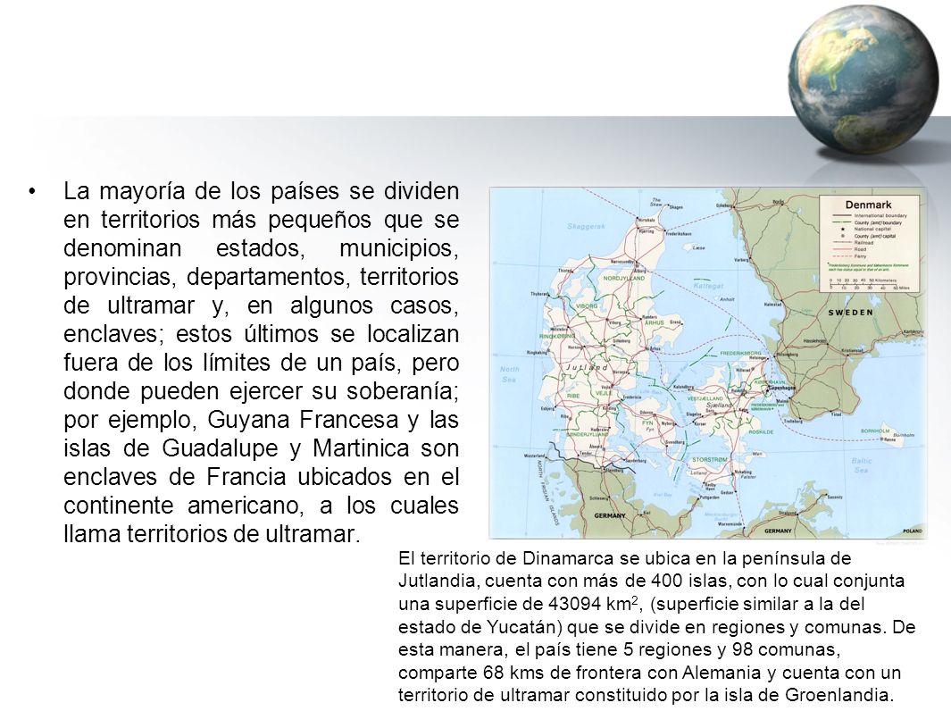 La mayoría de los países se dividen en territorios más pequeños que se denominan estados, municipios, provincias, departamentos, territorios de ultram