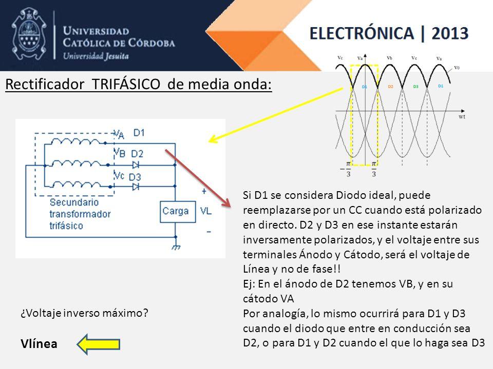 Rectificador TRIFÁSICO de media onda: ¿Voltaje inverso máximo? Vlínea Si D1 se considera Diodo ideal, puede reemplazarse por un CC cuando está polariz