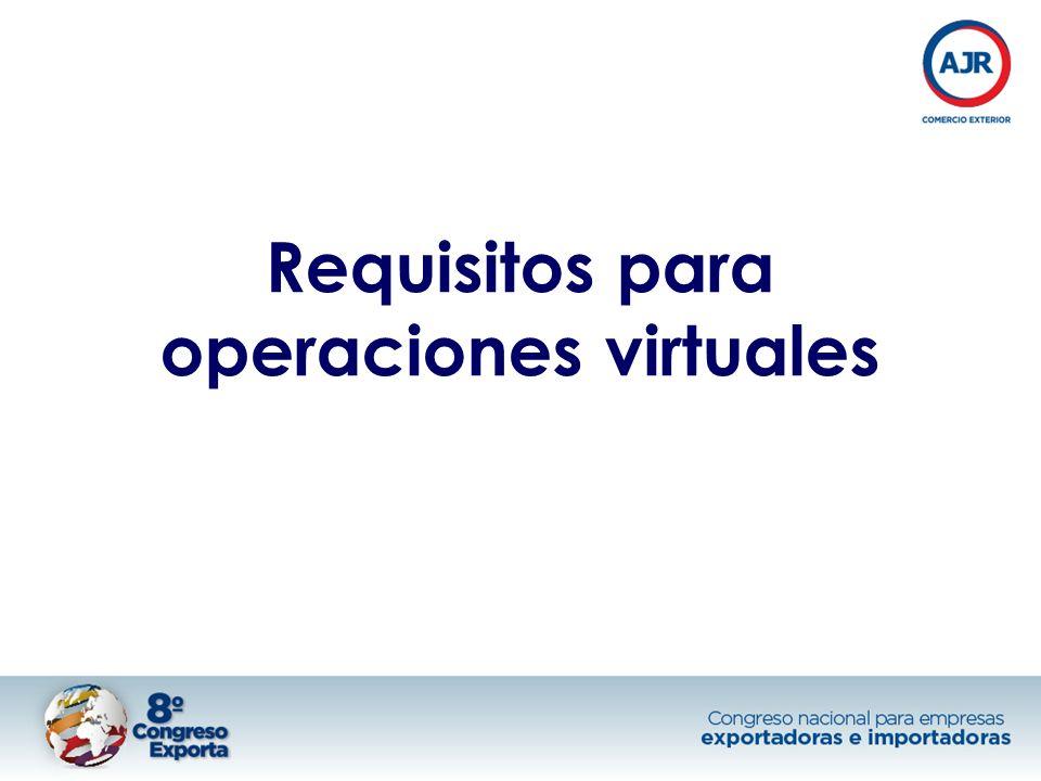 Requisitos para operaciones virtuales