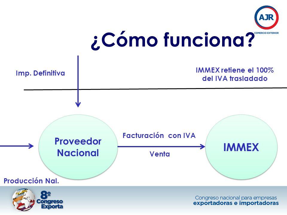 ¿Cómo funciona? IMMEX Proveedor Nacional Venta Facturación con IVA Imp. Definitiva Producción Nal. IMMEX retiene el 100% del IVA trasladado